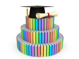 Colored Books With Graduation Cap Stock Photo