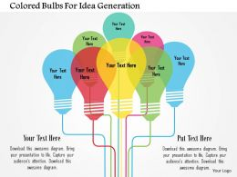 Colored Bulbs For Idea Generation Flat Powerpoint Design