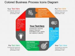 Colored Business Process Icons Diagram Flat Powerpoint Design