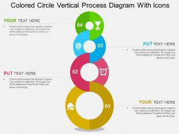 Colored Circle Vertical Process Diagram With Icons Flat Powerpoint Design