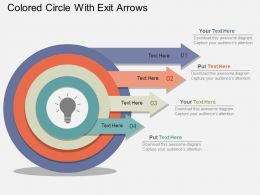 Colored Circle With Exit Arrows Flat Powerpoint Design