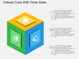 Colored Cube With Three Sides Flat Powerpoint Design