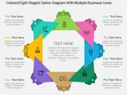 Colored Eight Staged Option Diagram With Multiple Business Icons Flat Powerpoint Design