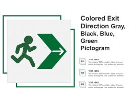 Colored Exit Direction Gray Black Blue Green Pictogram
