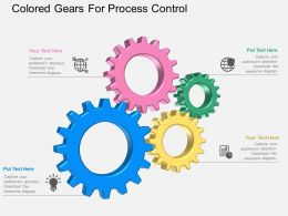 Colored Gears For Process Control Flat Powerpoint Design
