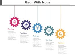 Colored Gears With Icons For Process Control Powerpoint Slides