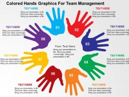 Colored Hands Graphics For Team Management Flat Powerpoint Design