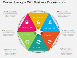 Colored Hexagon With Business Process Icons Flat Powerpoint Design