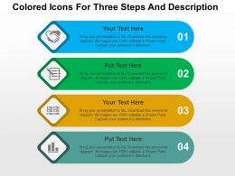 Colored Icons For Three Steps And Description Flat Powerpoint Design