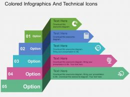 Colored Infographics And Technical Icons Flat Powerpoint Design