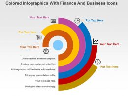 Colored Infographics With Finance And Business Icons Flat Powerpoint Design