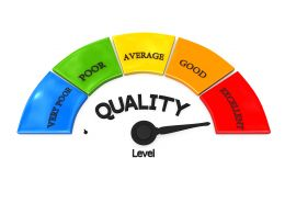 Colored Meter With Quality Display On Maximum Value Stock Photo