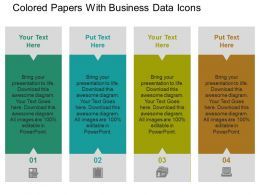 Colored Papers With Business Data Icons Flat Powerpoint Design Flat Powerpoint Design