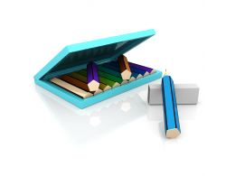 Colored Pencils Inside The Box With Eraser Stock Photo