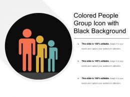 Colored People Group Icon With Black Background