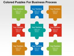 Colored Puzzles For Business Process Flat Powerpoint Design