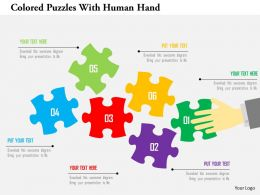 Colored Puzzles With Human Hand Flat Powerpoint Design