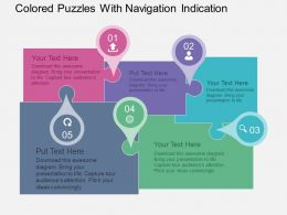 Colored Puzzles With Navigation Indication Flat Powerpoint Design