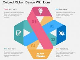 Colored Ribbon Design With Icons Flat Powerpoint Design