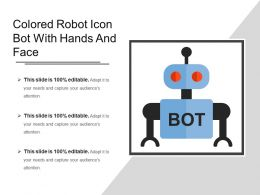 Colored Robot Icon Bot With Hands And Face