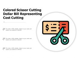Colored Scissor Cutting Dollar Bill Representing Cost Cutting