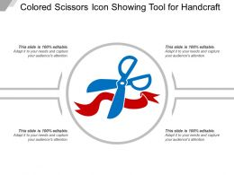 Colored Scissors Icon Showing Tool For Handcraft