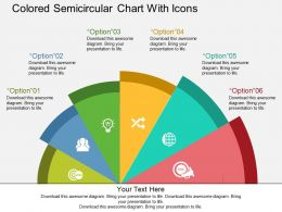 Colored Semicircular Chart With Icons Flat Powerpoint Design