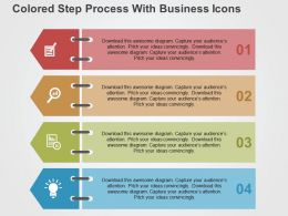 Colored Step Process With Business Icons Flat Powerpoint Design