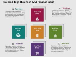 Colored Tags Business And Finance Icons Flat Powerpoint Design