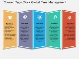 Colored Tags Clock Global Time Management Flat Powerpoint Design