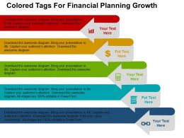 Colored Tags For Financial Planning Growth Flat Powerpoint Design