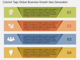 Colored Tags Global Business Growth Idea Generation Flat Powerpoint Design