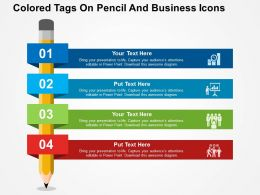Colored Tags On Pencil And Business Icons Flat Powerpoint Design