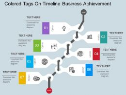 Colored Tags On Timeline Business Achievement Flat Powerpoint Design