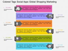 Colored Tags Social Apps Global Shopping Marketing Flat Powerpoint Design