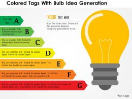 Colored Tags With Bulb Idea Generation Flat Powerpoint Design