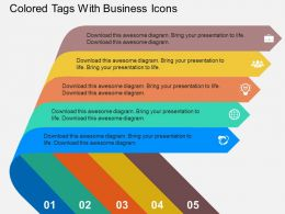 Colored Tags With Business Icons Flat Powerpoint Design