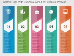 Colored Tags With Business Icons For Horizontal Process Flat Powerpoint Design