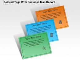 Colored Tags With Business Man Report Flat Powerpoint Design
