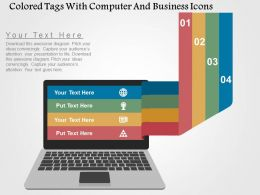 Colored Tags With Computer And Business Icons Flat Powerpoint Design Flat Powerpoint Design