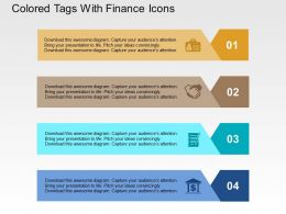Colored Tags With Finance Icons Flat Powerpoint Design