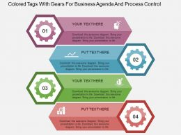 Colored Tags With Gears For Business Agenda And Process Control Flat Powerpoint Design