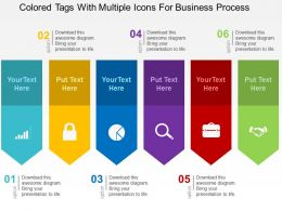 Colored Tags With Multiple Icons For Business Process Flat Powerpoint Design