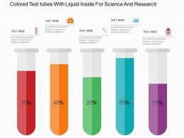Colored Test Tubes With Liquid Inside For Science And Research Flat Powerpoint Design
