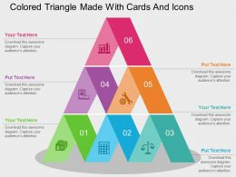 Colored Triangle Made With Cards And Icons Flat Powerpoint Design