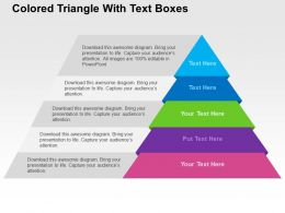 Colored Triangle With Text Boxes Flat Powerpoint Design