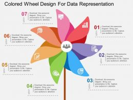 Colored Wheel Design For Data Representation Flat Powerpoint Design