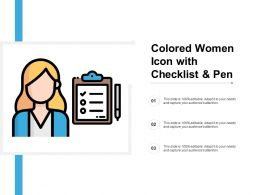 Colored Women Icon With Checklist And Pen