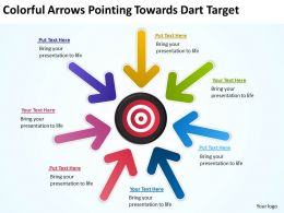 Colorful Arrows Pointing Towards Dart Target Ppt Powerpoint Slides