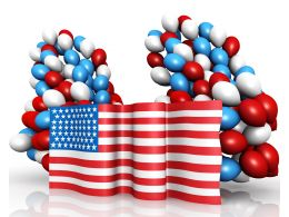 Colorful Balloons With American Flag For Labor Day Stock Photo